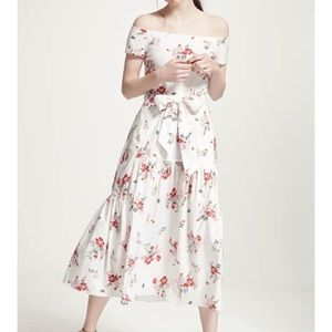 Rebecca Taylor Marguerite Floral Midi Dress White